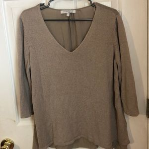 Sweaters - Quarter sleeve sweater with sheer back